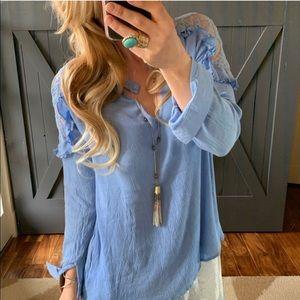 Bohemian Long Sleeve Lace Blouse, Large